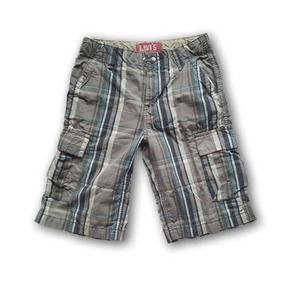 Levi's Plaid Adjustable Cargo Shorts Gray Kids 14R